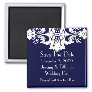 Blue and White Baroque Save the Date Magnet