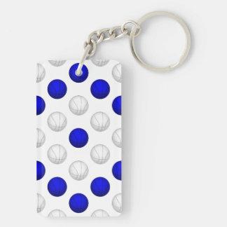 Blue and White Basketball Pattern Double-Sided Rectangular Acrylic Keychain