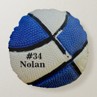 Blue and White Basketball Round Pillow