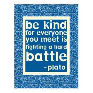 Blue and White Be Kind Quote Postcard
