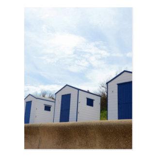 Blue And White Beach Huts Postcard