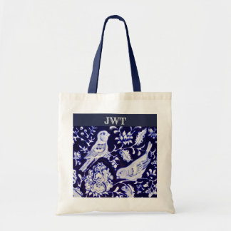 Blue and White Bird Floral Monogrammed Tote Bag