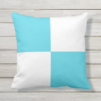 Blue and White Blocks Outdoor Throw Pillow