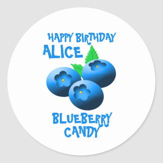 Blue And White Blueberry Candy Round Sticker