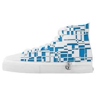 Blue and White Box Pattern High Tops