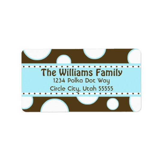 Blue and White Bubbles Address Label