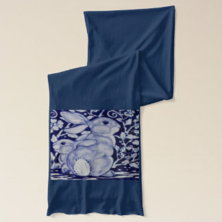 Blue and White Bunny Mom Beautiful Navy Scarf