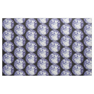 Blue and White Bunny Rabbit Medallion Fabric Black