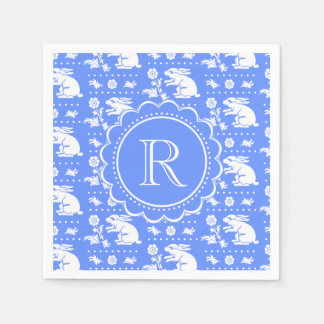 Blue and White Bunny Rabbits Vintage Style Pattern Disposable Napkins