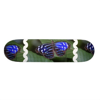 Blue and White Butterfly Skateboard