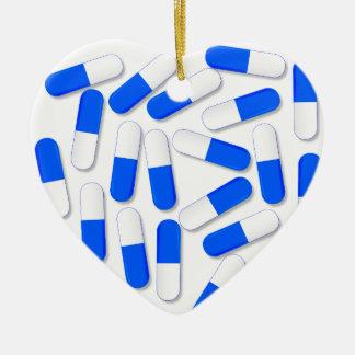 Blue And White Capsules Ceramic Heart Ornament