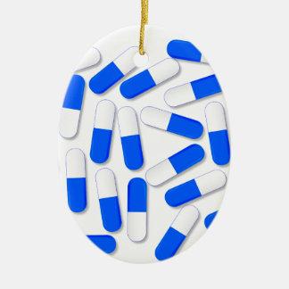 Blue And White Capsules Ceramic Oval Ornament