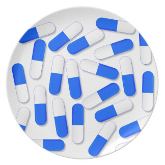 Blue And White Capsules Dinner Plate