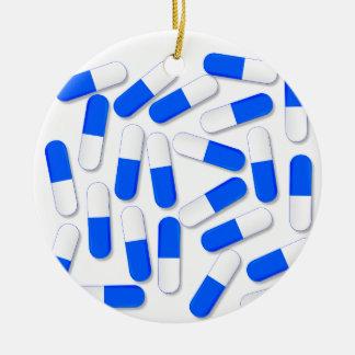Blue And White Capsules Round Ceramic Ornament