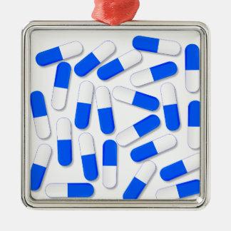 Blue And White Capsules Silver-Colored Square Ornament