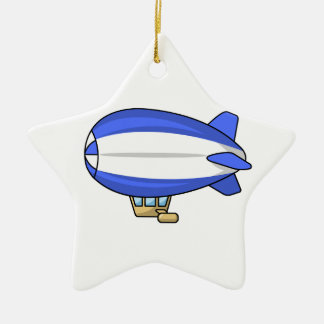 Blue and White Cartoon Blimp Ceramic Star Ornament