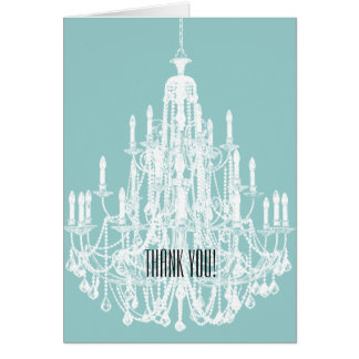 Blue and White Chandelier Thank You Card