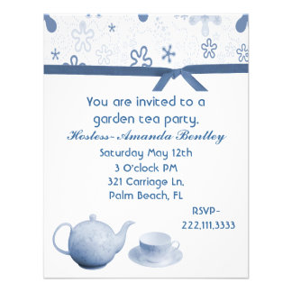 Blue and White Charming Tea Party Invitation