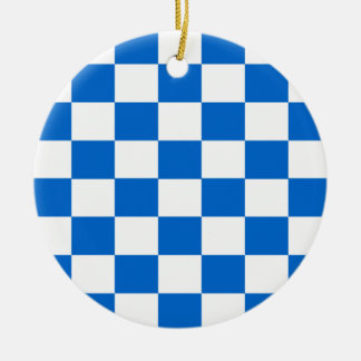 Blue and White Checkerboards Ceramic Ornament