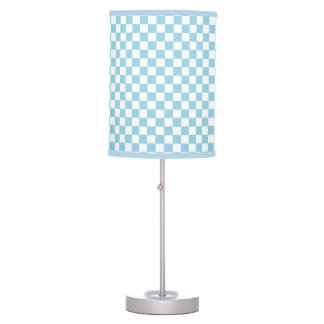 blue and white checkered light table lamps