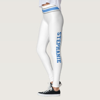 Blue and White Cheerleaders Personalize Leggings