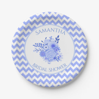 Blue and White Chevron Bridal Shower Paper Plate 7 Inch Paper Plate