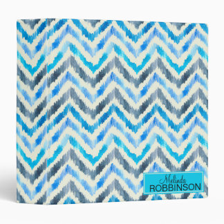 Blue and White Chevron  Custom Binder