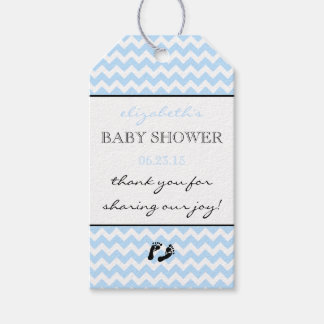 Blue and White Chevron Pattern Modern Thank You Pack Of Gift Tags