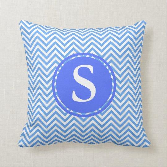 Blue And White Chevron Patterns, Custom Monograms Throw Pillow