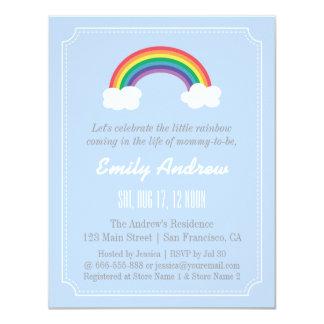 "Blue and White Chevron, Rainbow Baby Shower 4.25"" X 5.5"" Invitation Card"