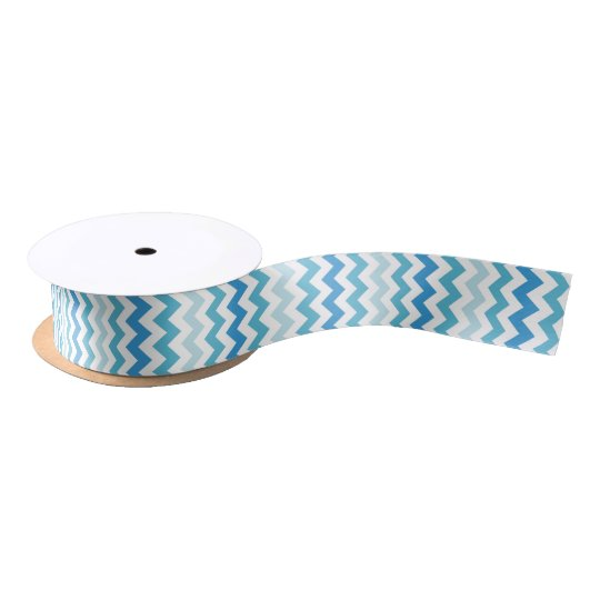 Blue And White Chevron Striped Ribbon Satin Ribbon