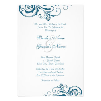 Blue and White Chic Wedding Invitation