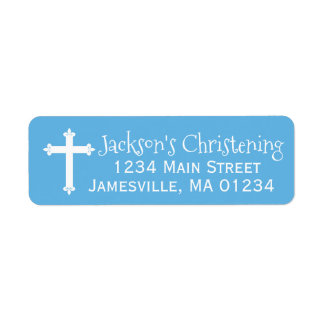 Blue and White Christening Return Address Labels