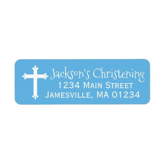 Blue and White Christening Return Address Labels