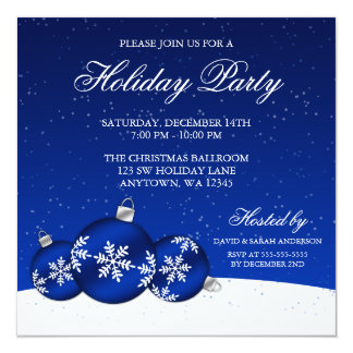 """Blue and White Christmas Ornaments Holiday Party 5.25"""" Square Invitation Card"""