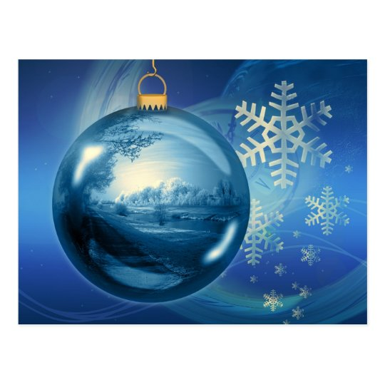 Blue and White Christmas Snowflake Ornament Postcard