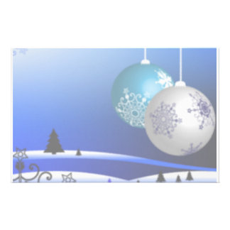 Blue and White Christmas Stationery