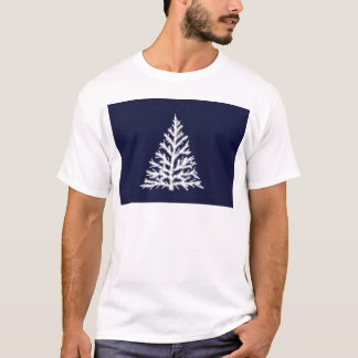 Blue and White Christmas Tree in Snow T-Shirt