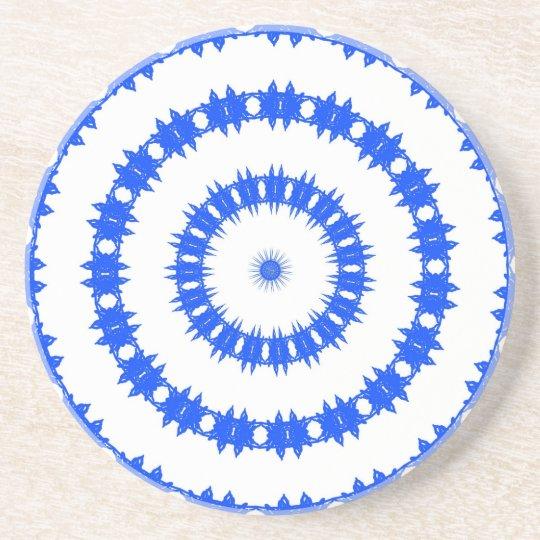 Blue And White Circle Pattern Coaster