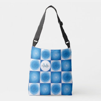 Blue And White Circles Pattern Crossbody Bag