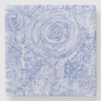 Blue and White Circles Stone Coaster