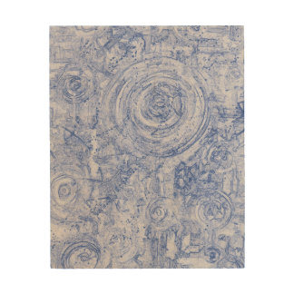 Blue and White Circles Wood Wall Decor