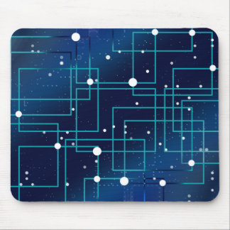 Blue and White Circuit Board Mouse Pad