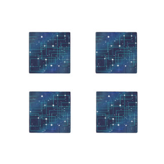 Blue and White Circuit Board Stone Magnets