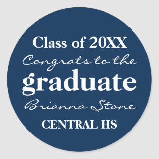 Blue and White Class of 2017 Graduation Sticker