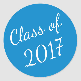 Blue and White Class of 2017 Graduation Stickers
