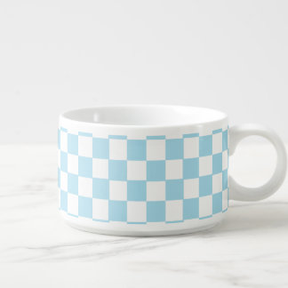 Blue And White Classic Retro Checkered Pattern Bowl