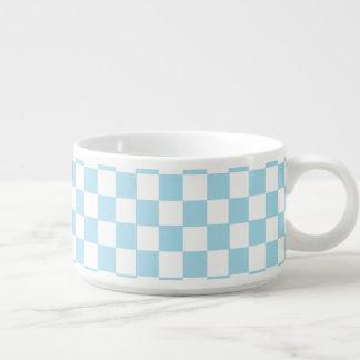 Blue And White Classic Retro Checkered Pattern Chili Bowl