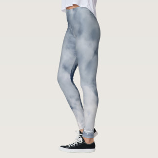 Blue and White Clouds Leggings with Name