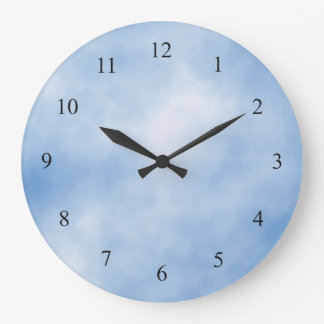 Blue and White Cloudy Day  Kitchen Wall Clock